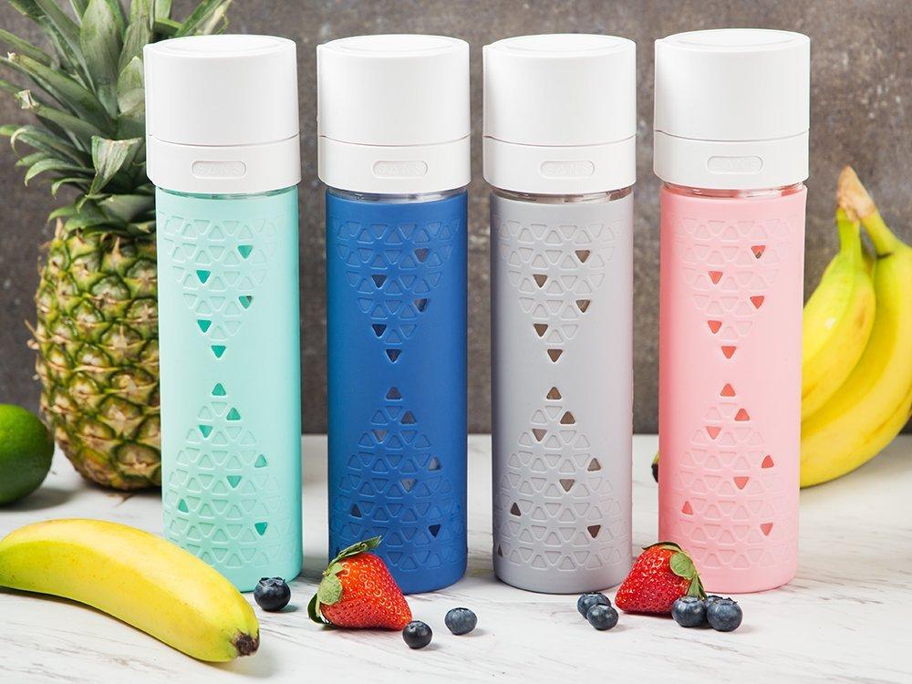 Botella de vac/ío con bomba integrada zumos perfectos m/ás tiempo Azul ar/ándano Sans