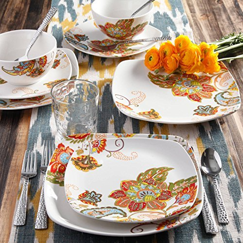 Better Homes and Gardens Floral Spray 16-Piece Square Dinnerware Set, Multi-Color