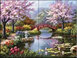 Ceramic Tile Mural - Japanese Garden - by Sung Kim - Kitchen backsplash / Bathroom shower