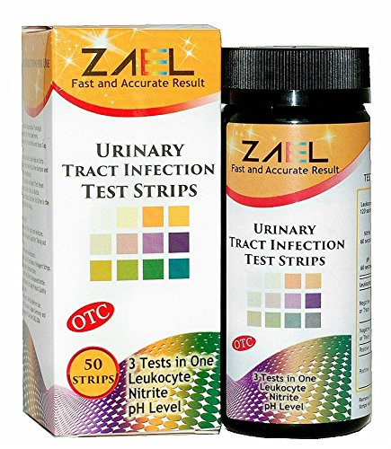 ZAEL Urine Tract Infection Test Strips, 50 tests / bottle. 3 UTI Tests in One - Leukocyte (white blood cells), Nitrite Tests, pH Test. NEW PACKAGE WITH FOIL POUCHES FOR EXTRA FRESH PROTECTION!