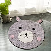 Round Rugs,Toys Storage Organizer,Nursery Rugs Large Cotton Anti-slip Cartoon Animal Baby Floor Mat Game Area for Kids Room Living Room, 31.5x31.5inch (Fox)
