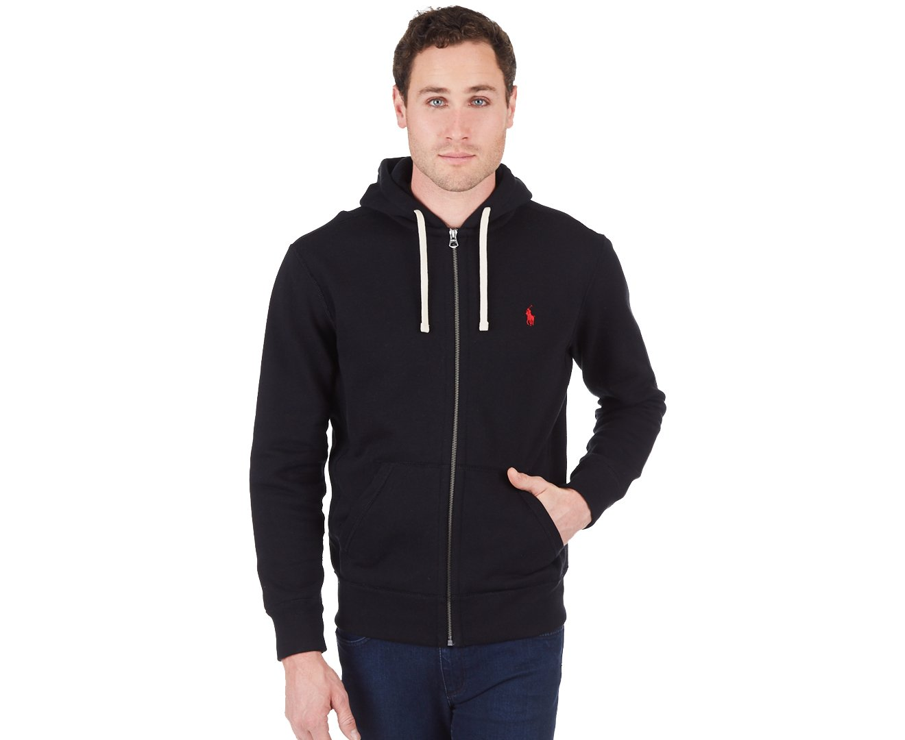RALPH LAUREN Polo Classic Full-Zip Fleece Hooded Sweatshirt (Large, Black/Red Pony)