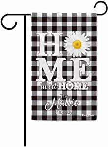 KafePross Home Sweet Home Flowers Spring Summer Garden Flag Baffalo Plaid Checked Housewarming Gifts Put Your Family Name White and Black 12.5X18 Inch Print Double Sided