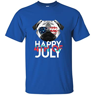 f4f16b85f4 Image Unavailable. Image not available for. Color: EUROA Happy 4th of July Independence  Day Funny Pug T-Shirt - Best Patriotic USA