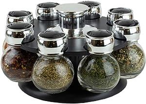 Home Basics Revolving Rack Organizer Set Spinning Spices, Herbs, Seasoning Kitchen Countertop Storage with 8 Glass Jar Bottles