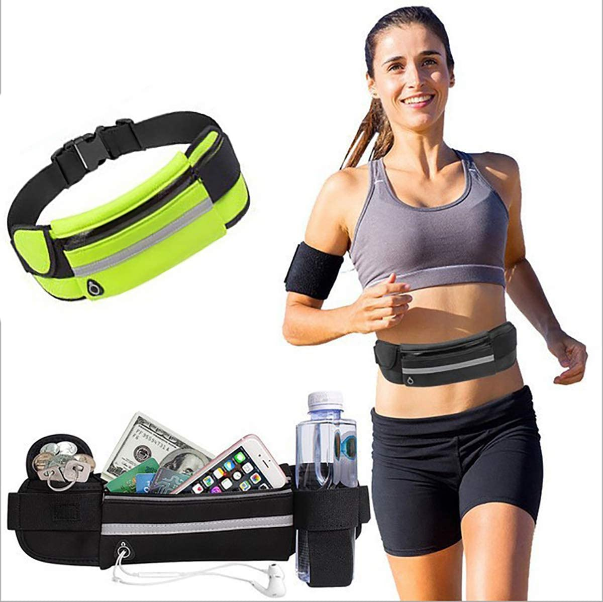 MSK BS Running Waist Pack Adjustable Elastic Strap,Exercise Belt with Water Bottle Holder for Gym Workouts,Running,Hiking,Cycling Walking,Travel /& Outdoor Activities