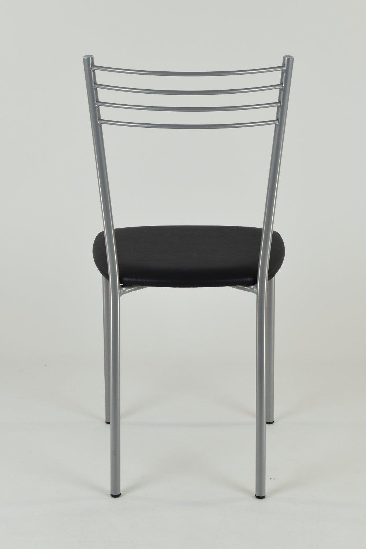 con Struttura in Acciaio Verniciato Color Alluminio e Seduta Imbottita e Rivestita in Ecopelle Nera Set 4 sedie Moderne e Design Elena per Cucina Bar e Sala da Pranzo Tommychairs