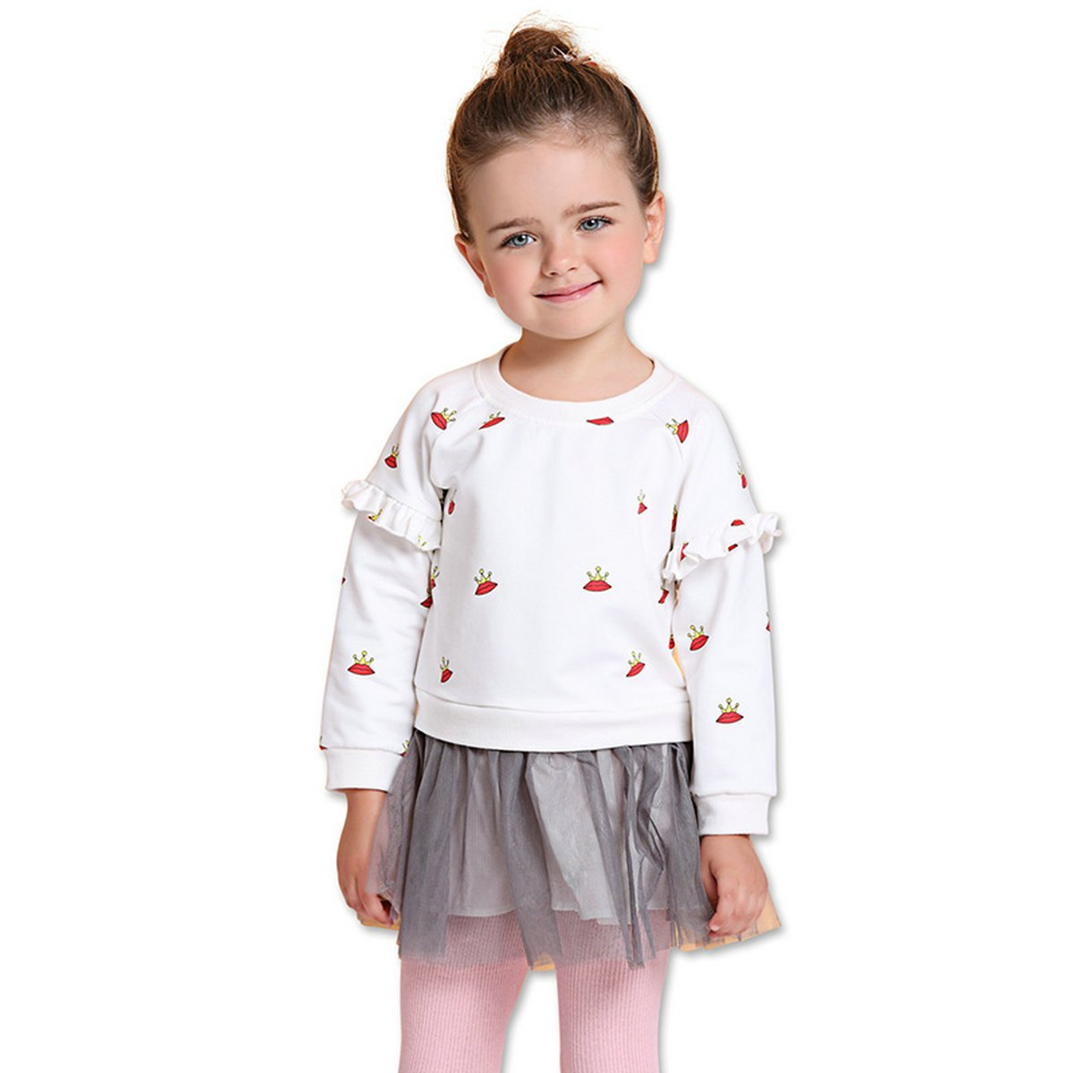 28b3b902e Freefly Toddle Girl Long Sleeve Dress Tops Fleece Splice Gauze Skirt Set