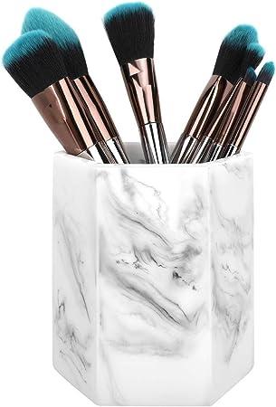 Luxspire Pot De Pinceau Maquillage Resine Hexagon Cosmetiques Pinceaux Coupe De Rangement Organisateur Pour Poudre De Maquillage Peigne Et Accessoires Encre Blanc Amazon Fr Cuisine Maison