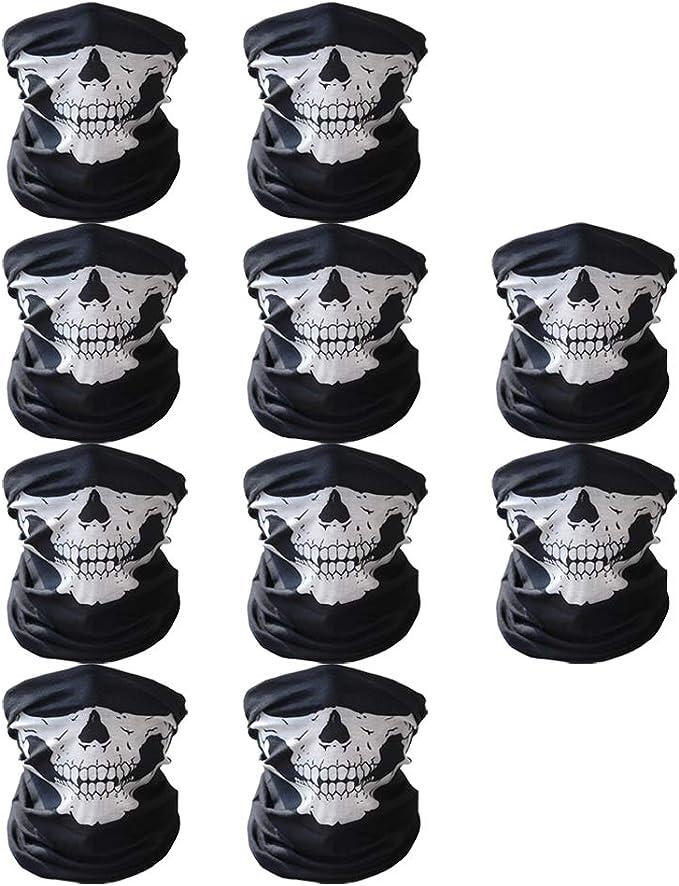 Abseed 10 Stücke Packung Multifunktionstuch Schädel Gesicht Schlauch Maske Motorrad Totenkopf Sturmmaske Für Halloween Fahrrad Ski Wandern Etc 10er Schwarz Sport Freizeit
