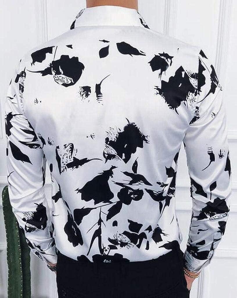 Jotebriyo Mens Fashion Slim Fit Long Sleeve Lapel Collar Floral Print Button Down Shirts Tops