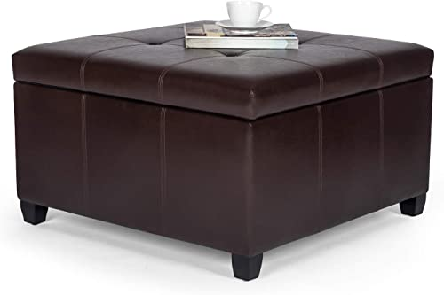 Homebeez Tufted Storage Ottoman Faux-Leather Square Footrest Stool Coffee Table