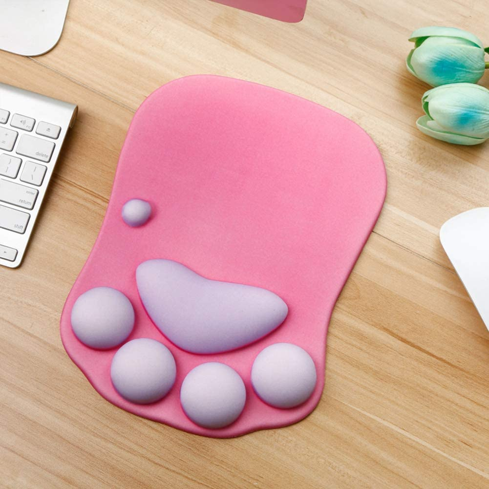 with Wrist Support Soft Non-Slip Mouse Pads Office Computer Gaming Mouse mat-G 27x20cm 11x8inch Cat paw Mousepad