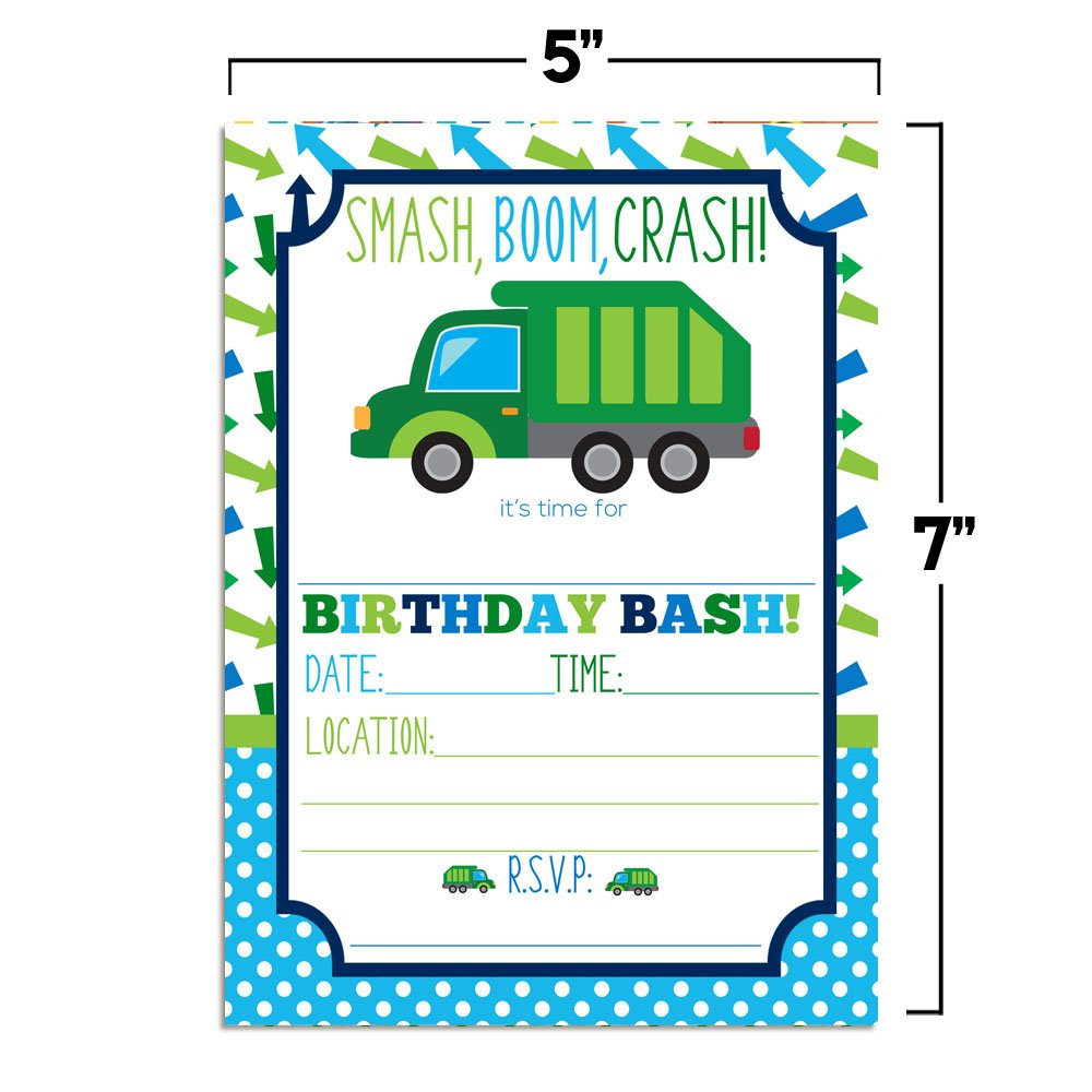 Amazon Garbage Truck Birthday Party Invitations For Boys 20 5