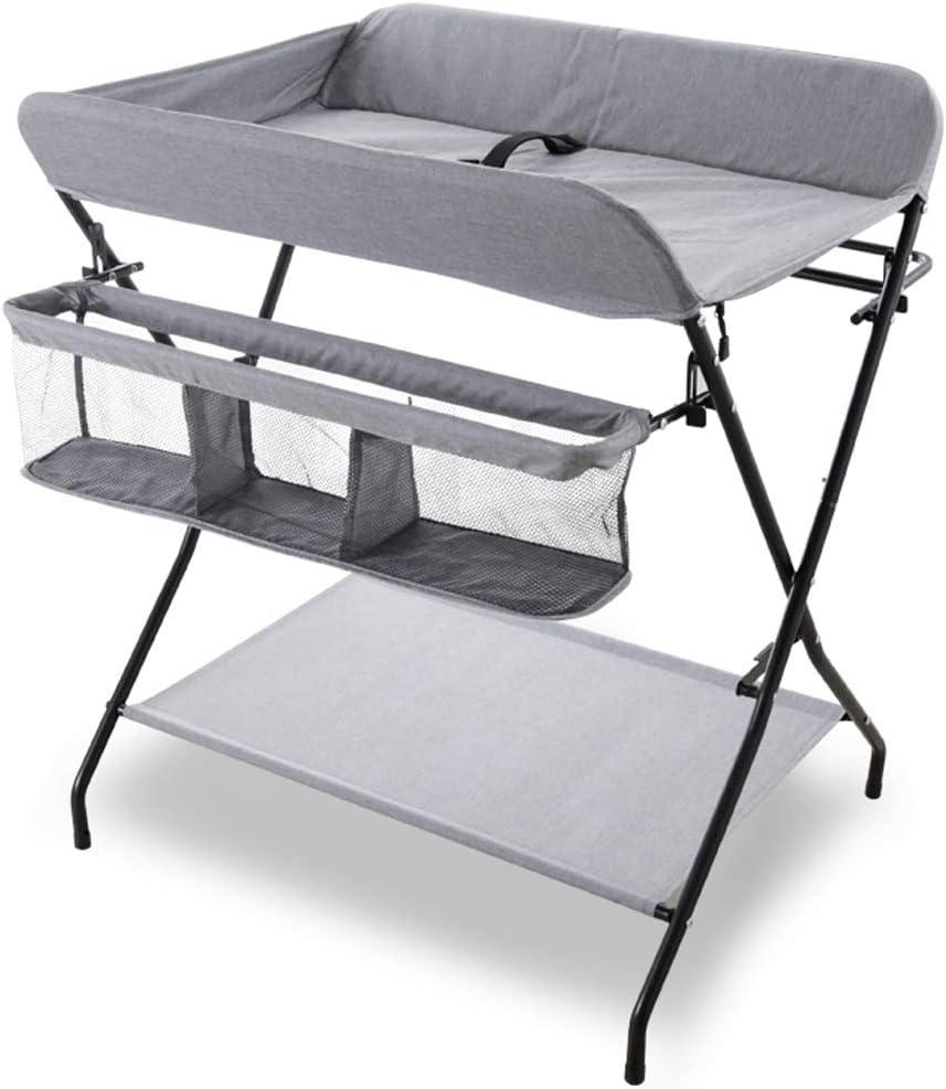 折りたたみ式 赤ちゃん 変更テーブル ストレージ付き クロスレッグスタイル おむつステーション、 ポータブル 幼児 ドレッサー、 0〜3歳 (グレー)