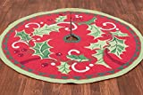 Limited Edition Handmade Hooked Traditional 100% Wool Winter Holly Mistletoe Classic Christmas Tree Skirt. 52'' Round.