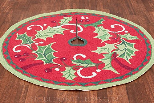 Limited Edition Handmade Hooked Traditional 100% Wool Winter Holly Mistletoe Classic Christmas Tree Skirt. 52'' Round. by NeedlepointPillows.com