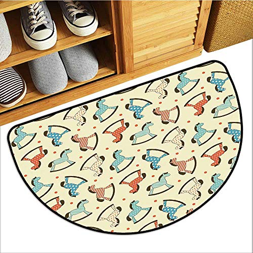Axbkl Non-Slip Door mat Toy Horse Dotted Background Pattern with Toy Rocking Horses Children Playthings Colorful Personality W36 xL24 ()