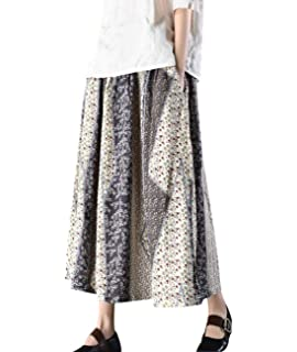 48811da528 YESNO Y35 Women Casual Loose  A  Skirt Ethnic Embroidery Chinese  Traditional Frog Pocket