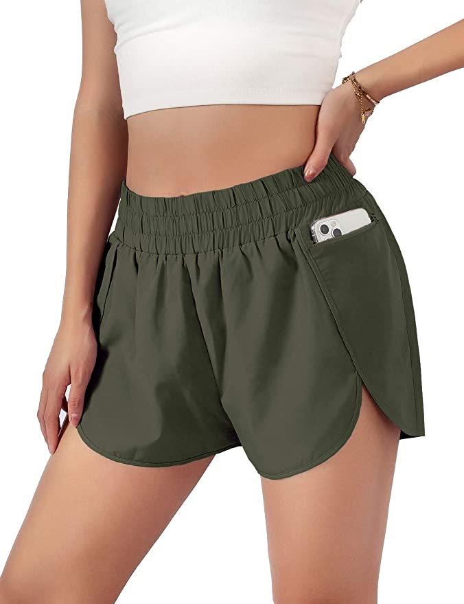 """Blooming Jelly Womens Quick-Dry Running Shorts Sport Layer Elastic Waist Active Workout Shorts with Pockets 1.75""""   Amazon"""