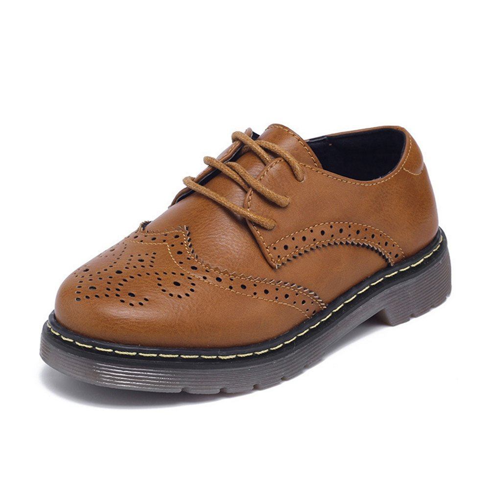 F-OXMY Kids Wing Tip Brogue Oxfords Dress Shoes Lace-up Non-Slip Comfort Casual Shoes Boys Brown