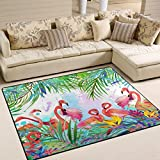 ALAZA Tropical Exotic Bird Leave Flamingo Area Rug Rugs for Living Room Bedroom 5'3 x 4'