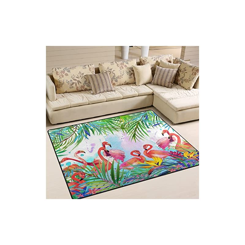 3 Feet Tropical Palm Leaves Design Non-Slip Fabric Round Rugs for Bedroom Living Room Study Room Kids Playing Floor Mat Carpet Green White GDA5003 Goodbath Round Area Rug