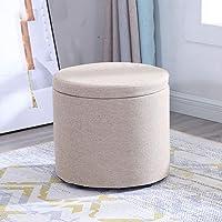 Solid Wood Cloth Printing Versatile Space-Saving Storage Chest Ottoman Footstool,Beige