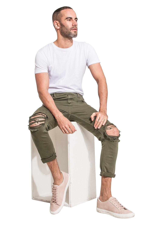 cdd5306e4d YES DESIGN Peto Vaquero Hombre - Slim Fit - Verde Peto Amovible THEOGREEN   Amazon.es  Ropa y accesorios