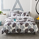 Grey Leaves Print Bedding Sets Full Queen 100 Percent Cotton Reversible 3 Piece Queen Duvet Cover Set with Zipper Closure,Plant Garden Style Comforter Cover Set Include 2 Pillowcase,4 Corner Ties