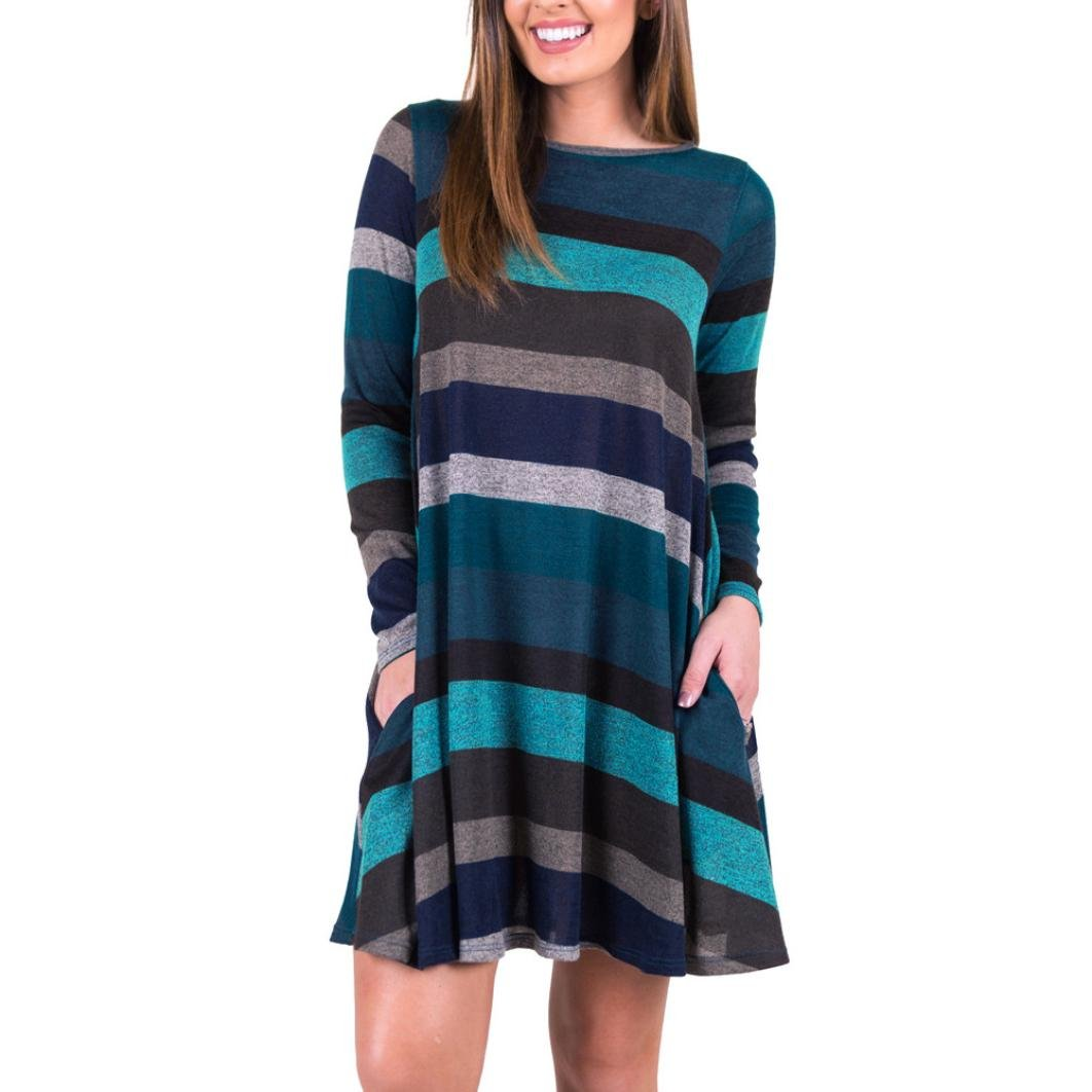 HARRYSTORE Womens Crewneck Long Sleeve Loose Tunic Top Blouse T-Shirt Dress Striped Printed Casual Swing Tunic Hem Dress with Pockets