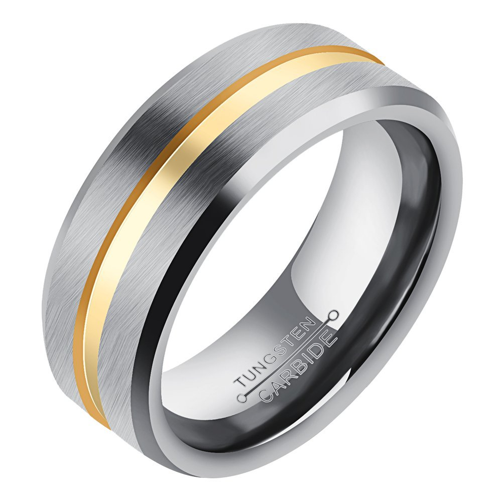 Onefeart Tungsten Ring For Men Boy Simple Style Streamline Ring Gold Silver US Size 8 Anniversary Ring