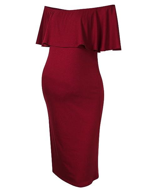 ceda9f66d16a5 MissQee Women's Maternity Dress Off Shoulder Casual Maxi Dress (S,  Burgundy1)
