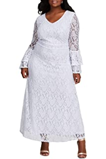 a0dd09269a6 FUSENFENG Women s Plus Size Lace Long Sleeve Wedding Evening Party Maxi  Dress