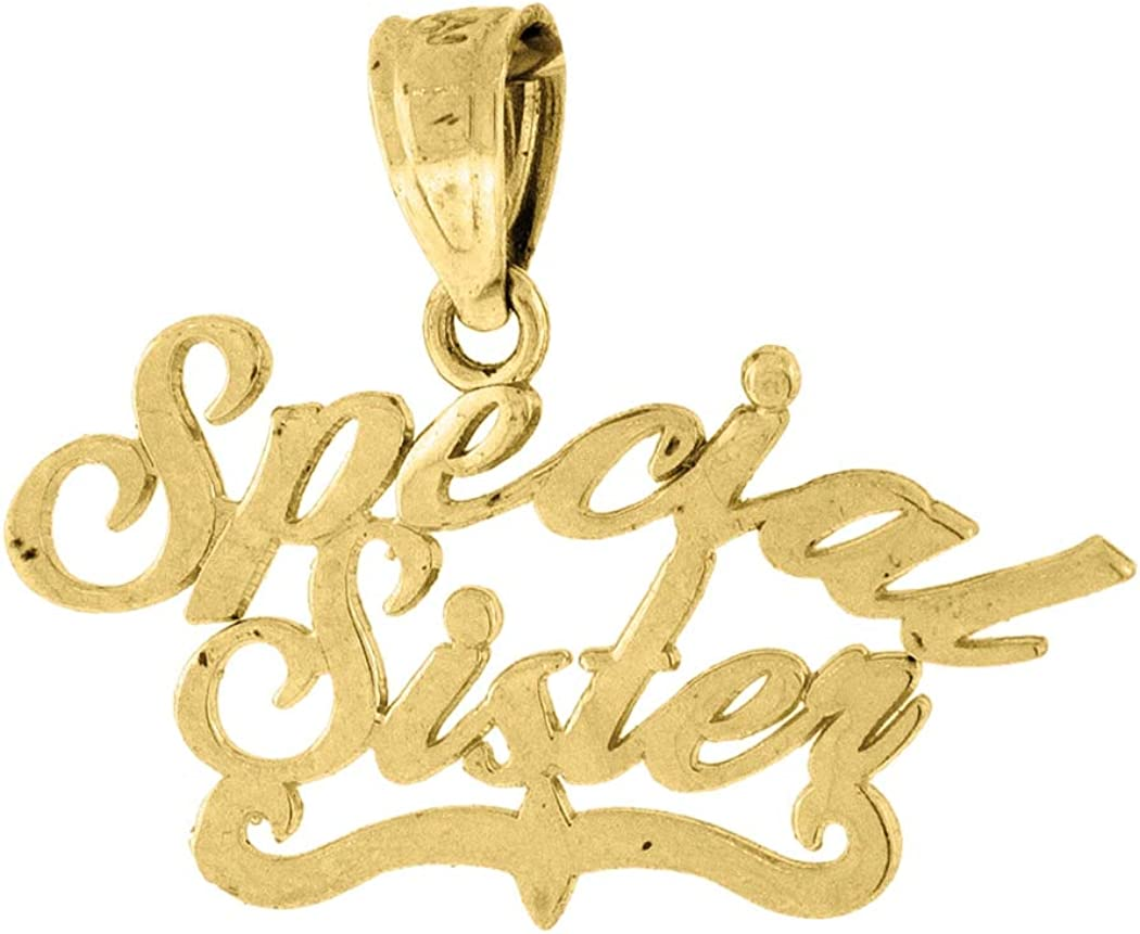 10k Gold Dc Womens Special Sister Height 16.5mm X Width 20.3mm Letter Name Personalized Monogram Initials /& Words Charm Pendant Necklace Jewelry Gifts for Women