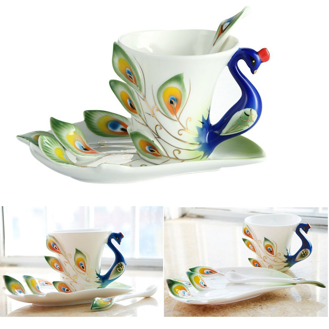 Cisixin Handcrafted 3D Peacock Ceramic Mug Set with Saucer and Spoon Tea/Coffee Cup (Green, Peacock)