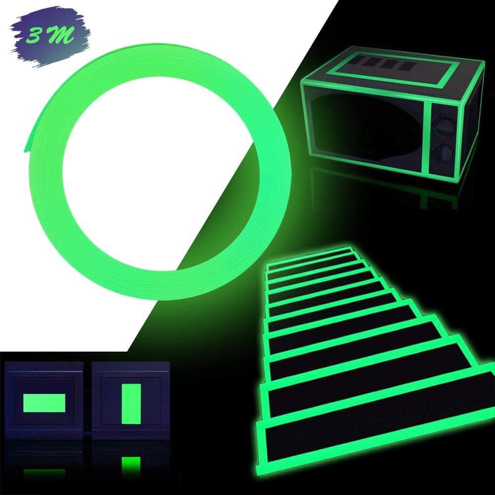 Lumineux Ruban,Fluorescente Bande Autocollante Lumineux Ruban Adh/ésif Amovible /étanche Brillant dans lobscurit/é pour Les Escaliers la Sc/ène Le V/élo la Chambre Le Garage 3M