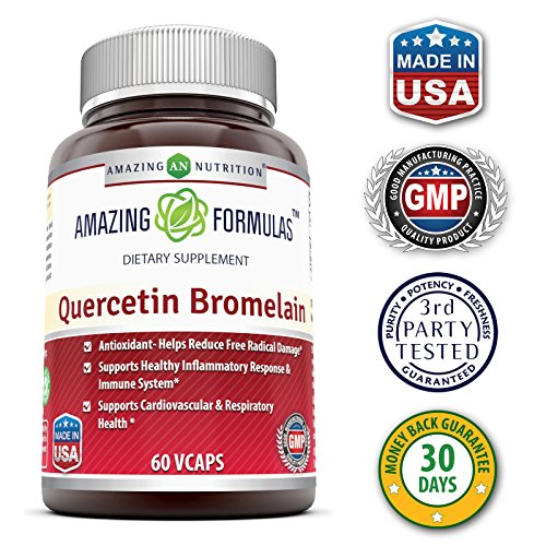 Amazing Nutrition Quercetin 800 Mg with Bromelain 165 Mg, 60 Vcaps Supports Heart & Joint Health, Energy Production, Respiratory Health, Inflammatory Response and Overall Healthy Well being*