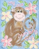 Green Frog Art Canvas Gallery Wrapped Art, Monkey Girl