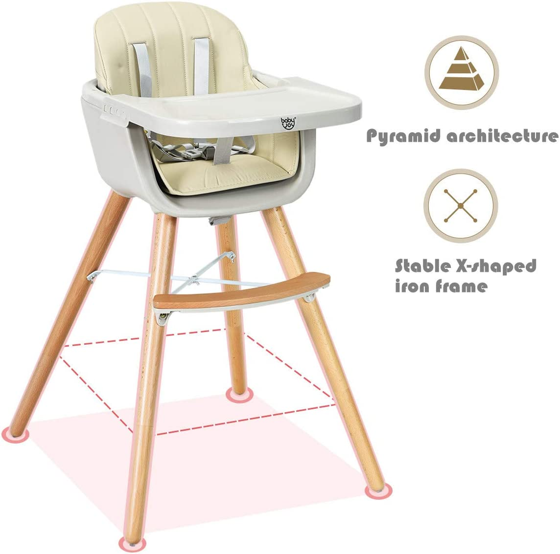 5-Point Seat Belt Multi-Functional Dining Chair with Adjustable Legs and Tray Infants Detachable Footrest COSTWAY Convertible High Chair Wooden Feeding Chair for Baby Toddlers