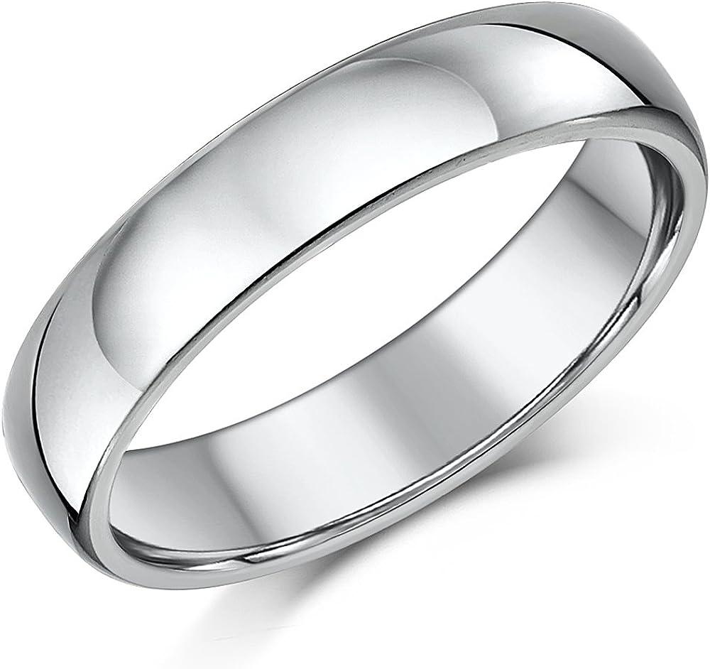 R4U 5mm Cobalt Chrome Wedding Ring Comfort Fit Platinum look Men Women Band