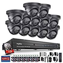 Sannce 1080P 16CH Video Security System with 1TB Hard Drive + 12HD 19201080p CCTV Dome Cameras (IP66 Weatherproof Metal Housing, 100ft IR LED Night Vision, Motion Detection)