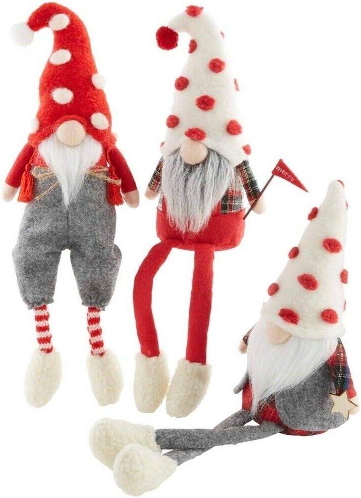 Mud Pie Gnome for The Holidays 9'' H Christmas Dangle Leg Gnomes 3-Piece Set 42600576