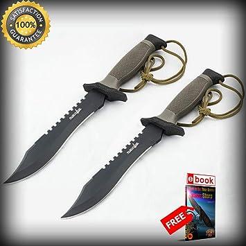 Amazon.com: 2 cuchillos tácticos de 11.8 in de combate, con ...