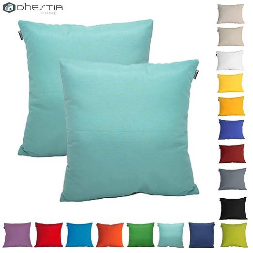Dhestia Pack X 2 Fundas Cojines Decoración Sofá Y Cama 45X45 Cm Loneta Colores (Turquesa/Turquoise), 45 X 45 Cm