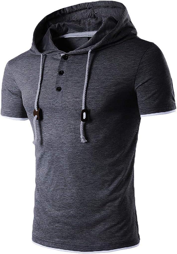 ZODOF Sudaderas Hombre, Sudadera con Capucha para Hombre,Manga Corta Sweater Hombre Camiseta