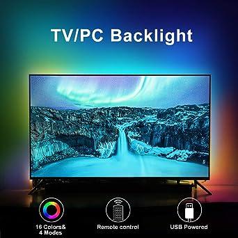 Luces traseras LED para TV, juego de tiras de TV RGB con mando a distancia, iluminación