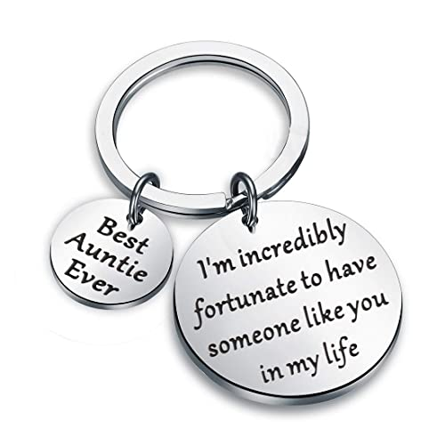 Zuo Bao Aunt Gift Best Auntie Ever Keychain Gift For Auntie From Nephew Niece Jewelry Gift Idea For Aunt Im Incredibly Fortunate To Have Someone Like