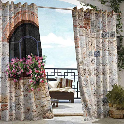 DILITECK Home Patio Outdoor Curtain Tuscan Gothic Architecture Abandoned Old Stone House Vintage Stairs in Tuscany Room Darkening, Noise Reducing W84 xL72 Ivory Pink and Salmon