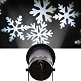 Moving White Snowflakes Lamp Light, Sunvito Waterproof Sparkling Landscape Light for Indoor/Outdoor Decor Stage Irradiation Christmas Holiday Party Home Decoration Wall Motion Decoration, White
